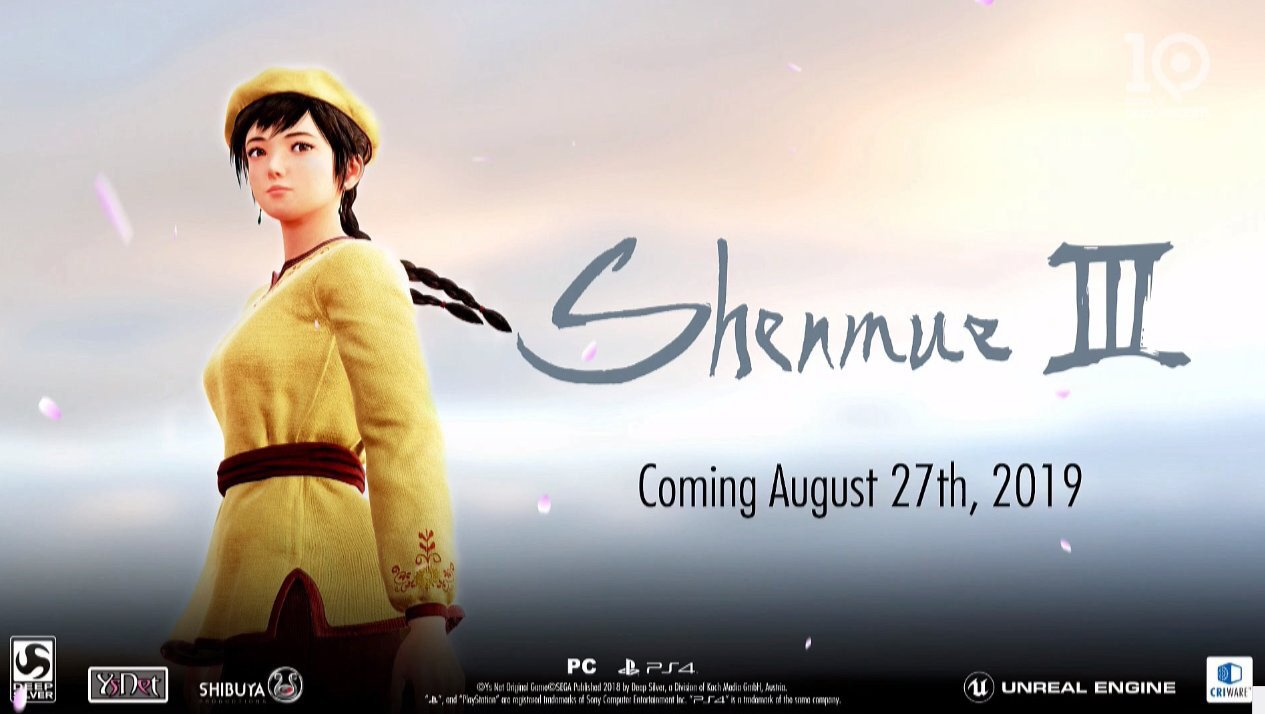 Date de sortie de Shenmue 3 confirmée pour l'été 2019