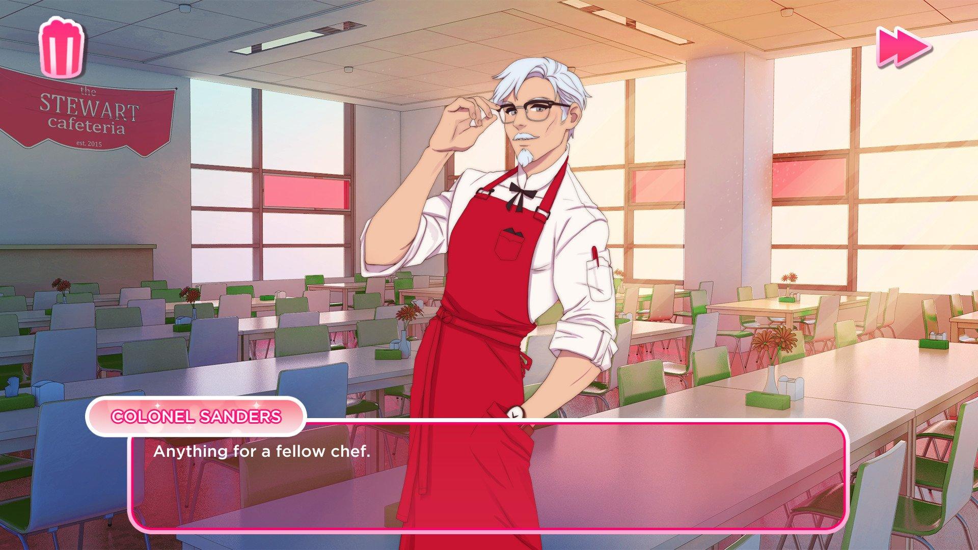 Il y a une simulation de rencontre officielle du KFC où tu courtises le colonel Sanders