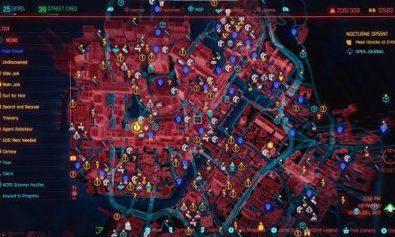 La taille de la carte Cyberpunk 2077, les déplacements rapides, les lieux et plus d'explications