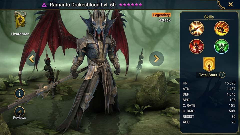 Raid Shadow Legends : Ramantu Drakesblood, le champion des nouvelles missions !