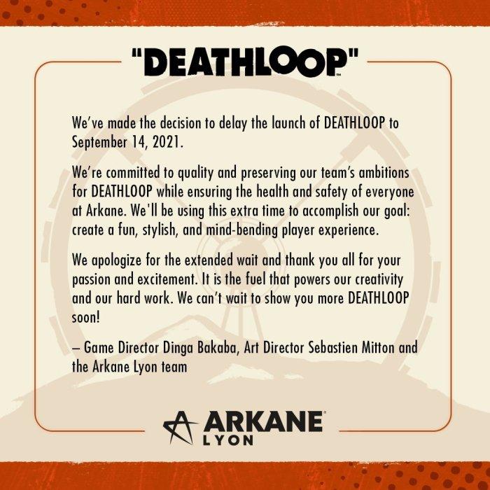 Deathloop release date delayed september