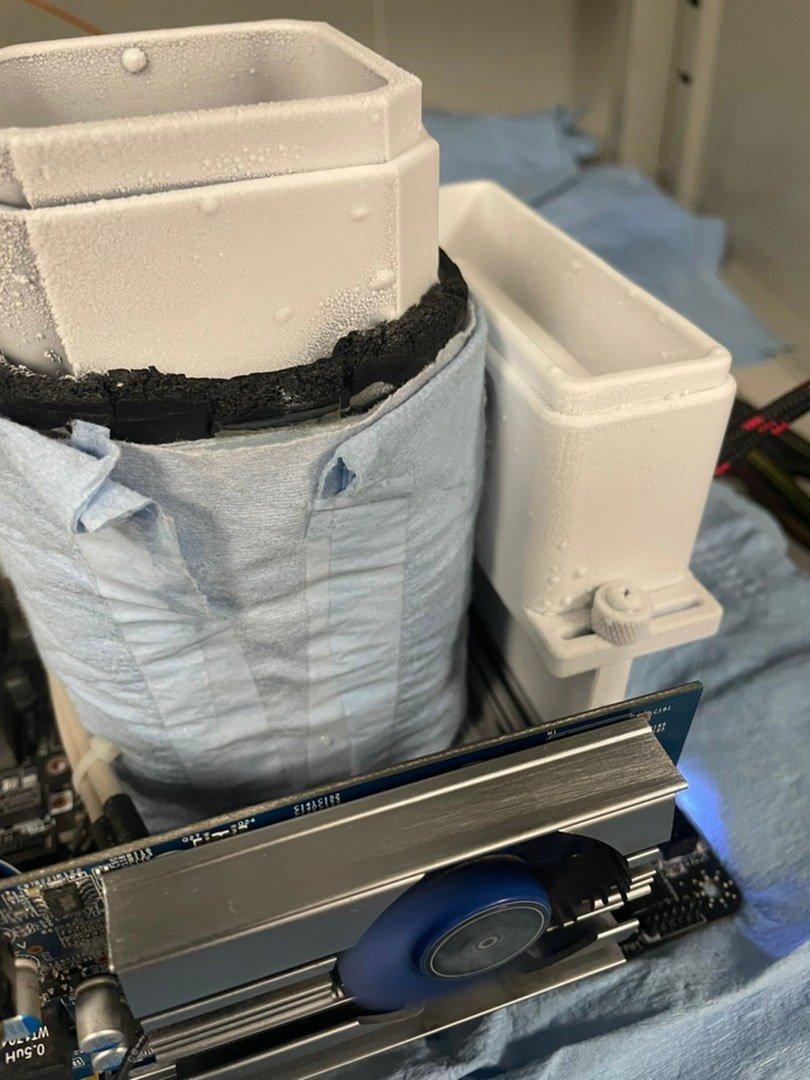 Yang's liquid nitrogen coolant setup for the world record-setting RAM speed test.
