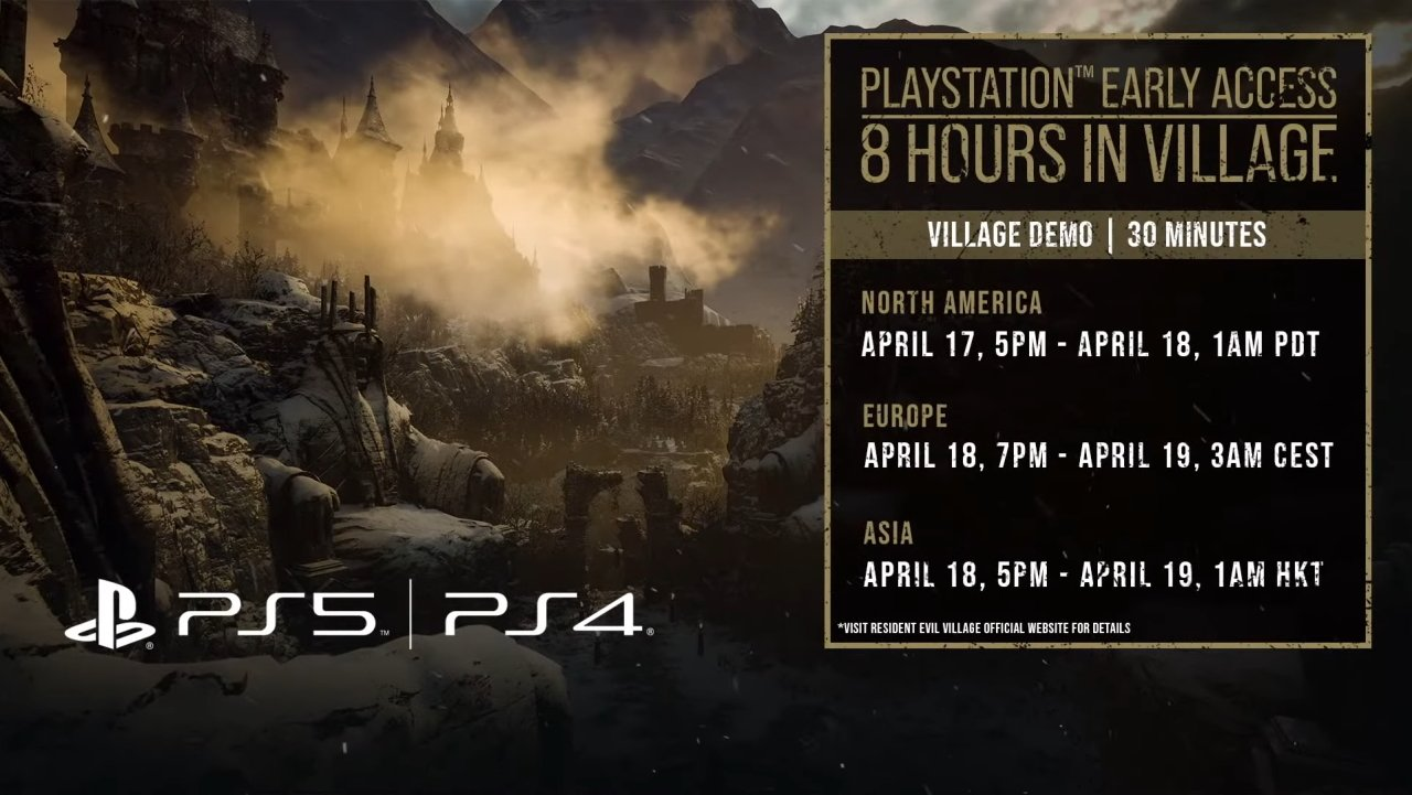 Resident evil village demo early access village times dates
