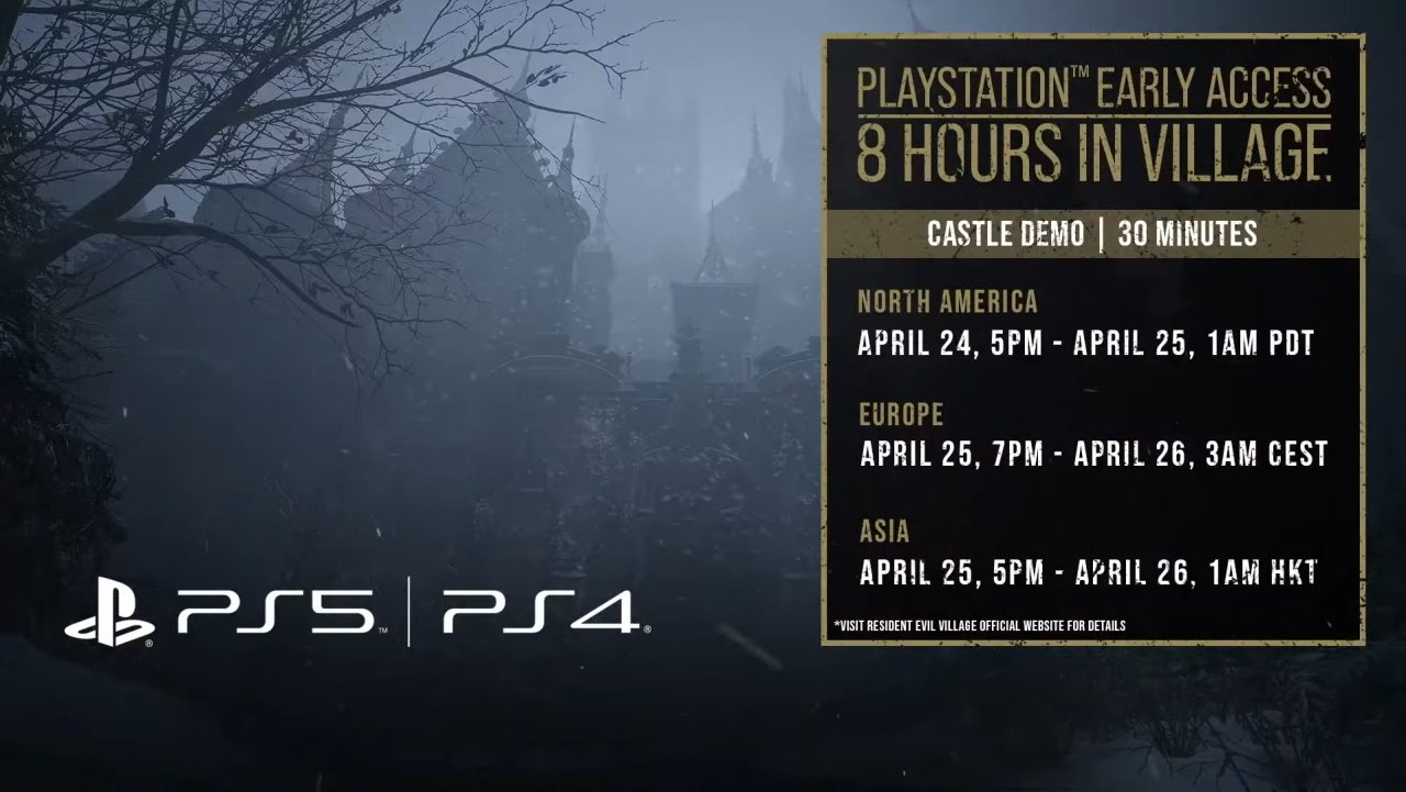 Resident Evil Village demo castle early access times and dates