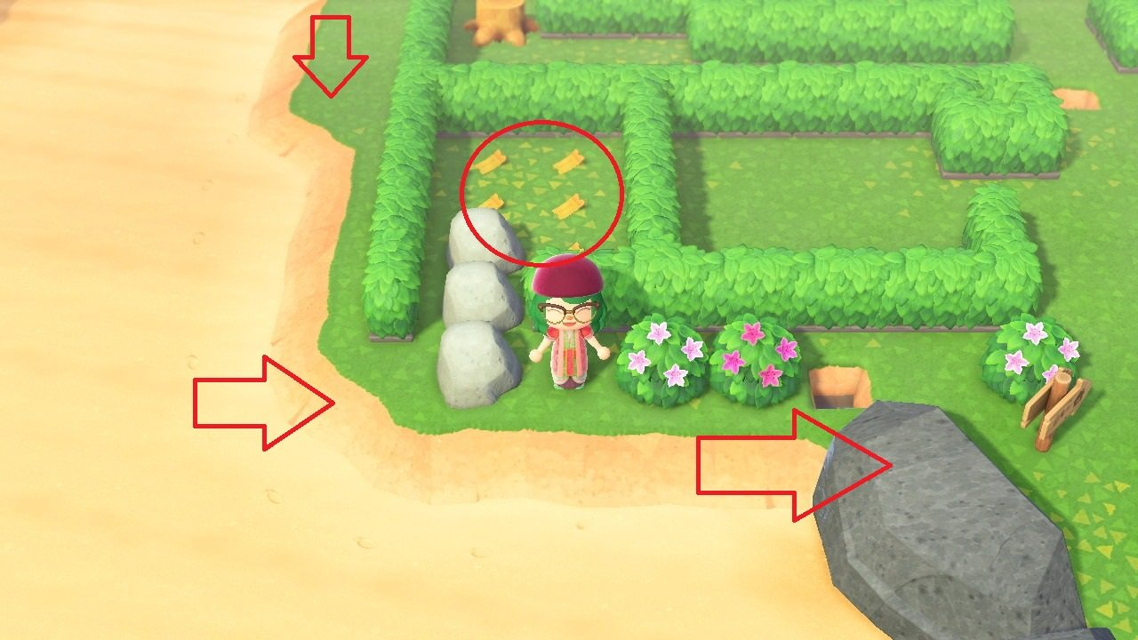 Head around and down to find three rocks. Use your three fruit to break these three rocks and grab your bonus Bell Vouchers. After that, dig up the bushes and head right to speak to Wilbur and fly home.