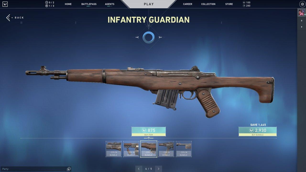 Valorant M1 Garand skin infantry guardian