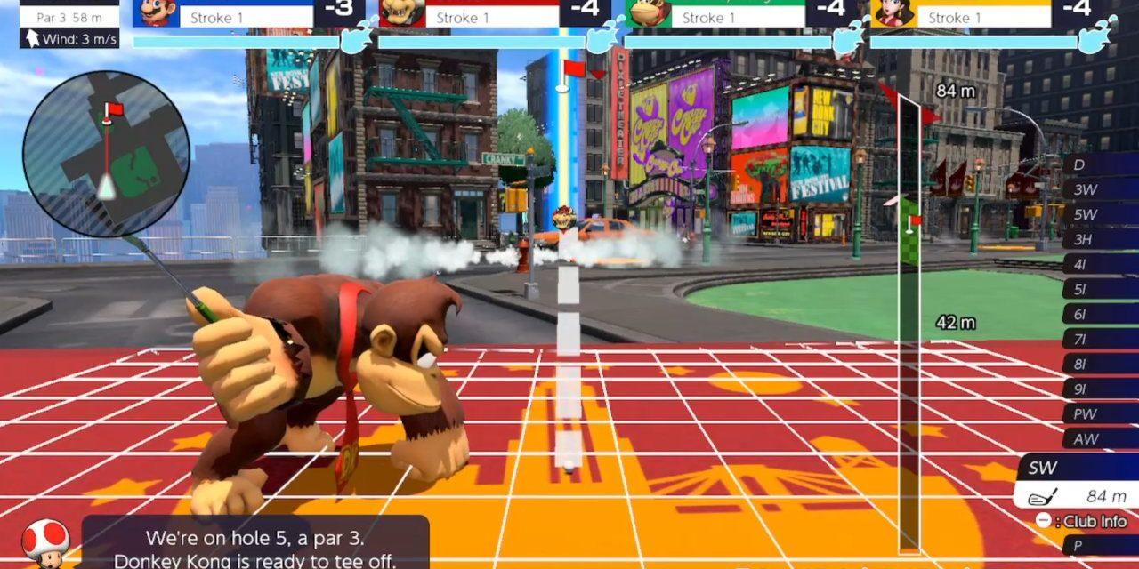 """Les bouches d'incendie gâchent le niveau """"New Donk City"""" de Mario Golf."""